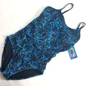 NWT speedo blue one piece swimsuit. Size 10